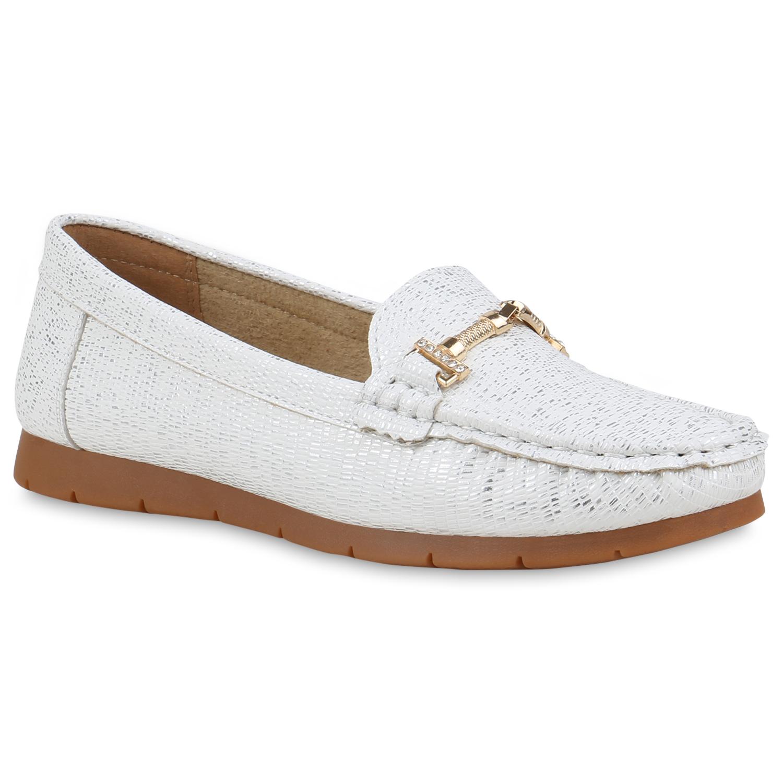 Slipper - Damen Slippers Mokassins Weiß Snake › stiefelparadies.de  - Onlineshop Stiefelparadies