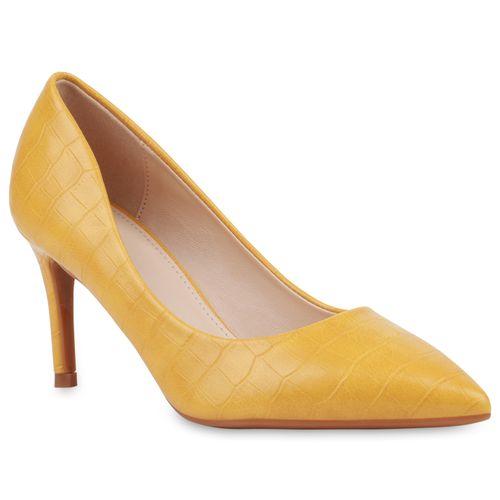 Damen Spitze Pumps - Gelb Kroko