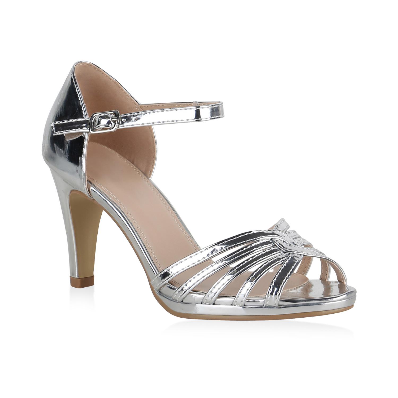 Sandalen - Damen Sandaletten Riemchensandaletten Silber Metallic › stiefelparadies.de  - Onlineshop Stiefelparadies