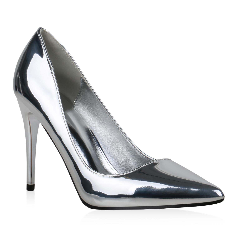 Damen Spitze Pumps - Silber