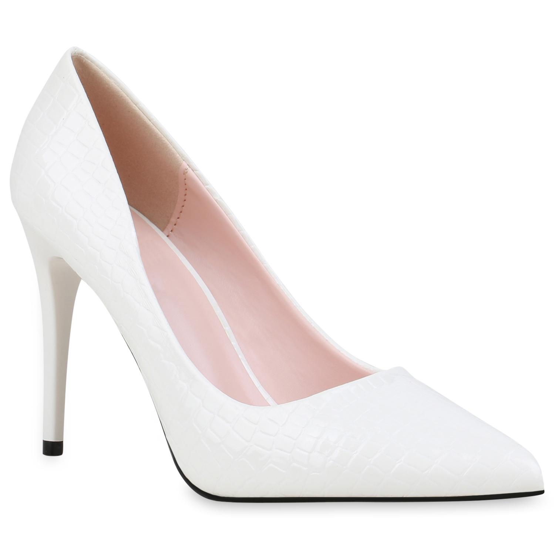 Damen Spitze Pumps - Weiß Kroko
