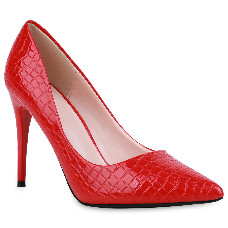 Damen Spitze Pumps - Rot Kroko