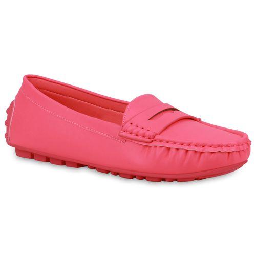 Damen Slippers Mokassins - Neon Pink