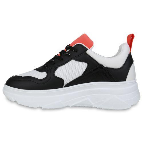 Damen Plateau Sneaker - Weiß Schwarz Hellrot Kroko
