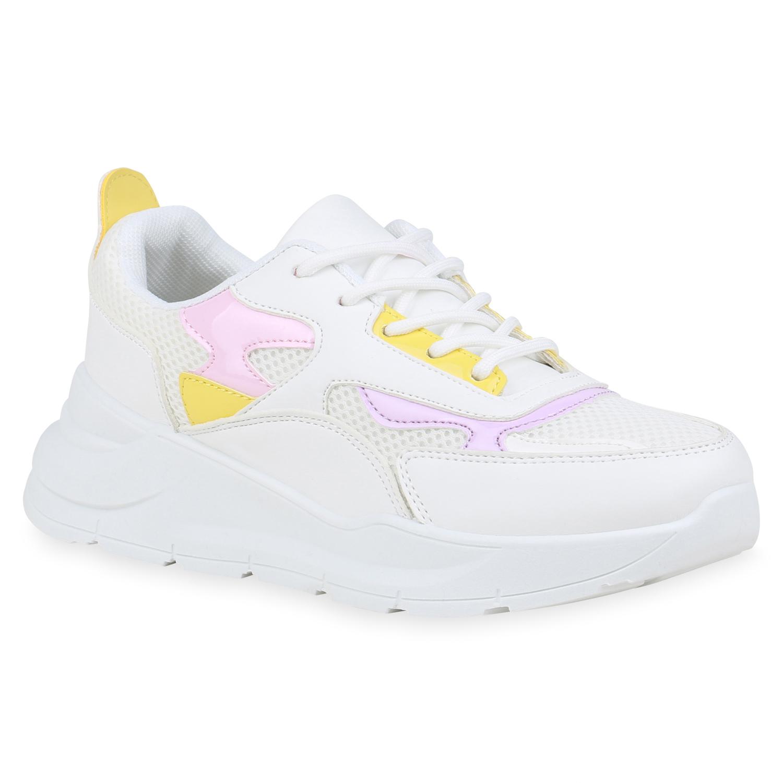 Sportschuhe - Damen Sportschuhe Laufschuhe Weiß Altrosa Gelb › stiefelparadies.de  - Onlineshop Stiefelparadies