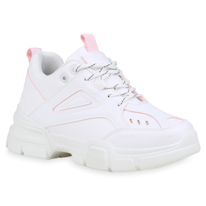 Sneakers - Damen Plateau Sneaker Weiß Peach › stiefelparadies.de  - Onlineshop Stiefelparadies