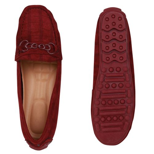Damen Slippers Mokassins - Burgund Muster