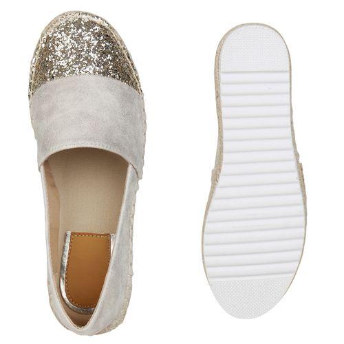 Damen Slippers Espadrilles - Gold