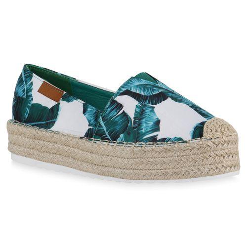 Damen Slippers Espadrilles - Dunkelgrün Weiß Muster
