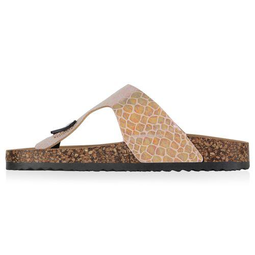 Billig Damen Schuhe Damen Sandalen in Apricot Nude Rose Gold Kroko 8336627491