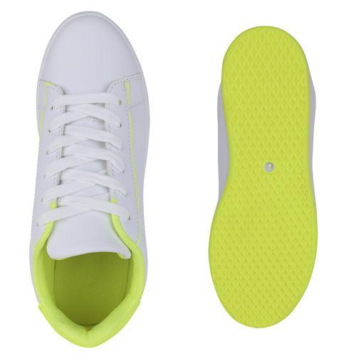 Billig Damen Schuhe Damen Sneaker in Weiß Neon Gelb 8336726766