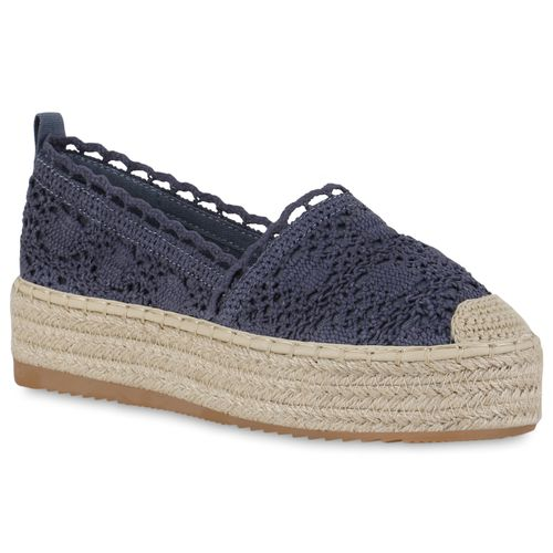 Damen Slippers Espadrilles - Marineblau