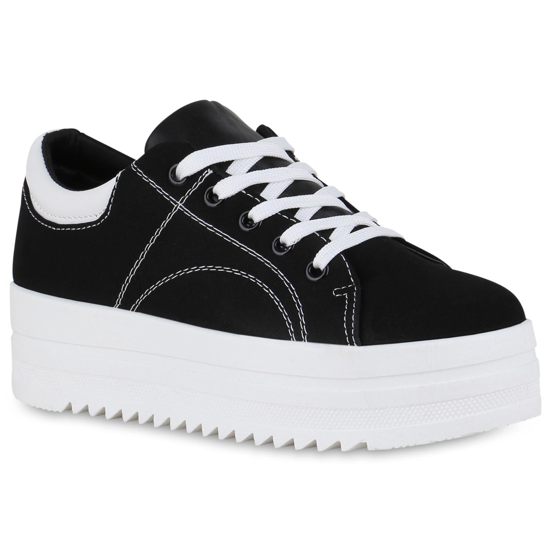 Damen Plateau Sneaker - Schwarz Weiß