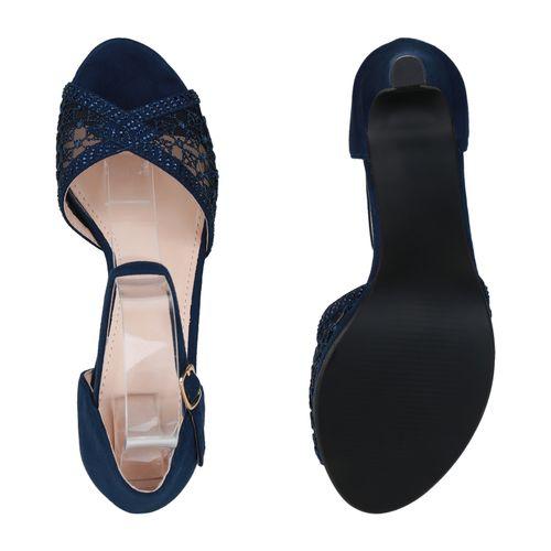 Damen Sandaletten Riemchensandaletten - Dunkelblau