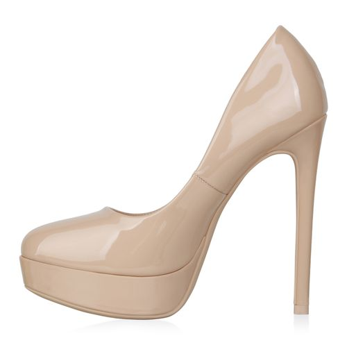 Damen Plateau Pumps - Beige