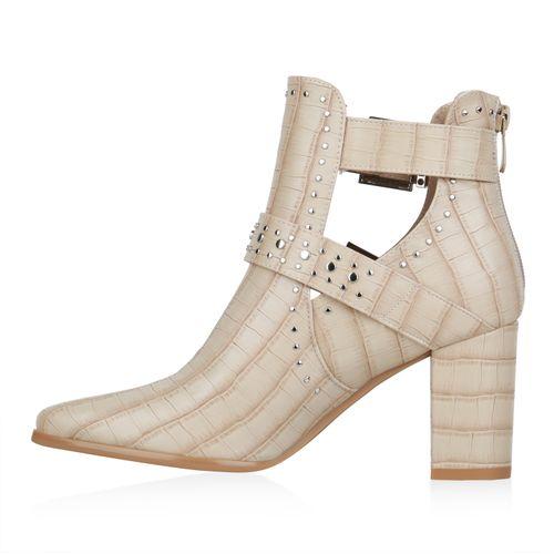 Damen Stiefeletten Ankle Boots - Creme Kroko