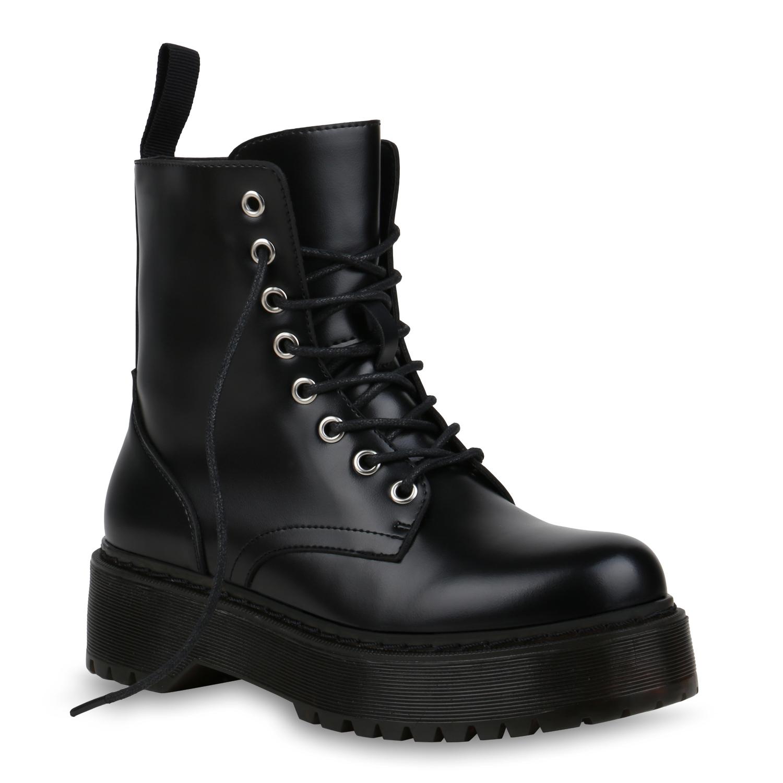 Damen-Stiefeletten-Plateau-Boots-Schnurer-Lack-Stiefel-Schnurboots-833785-Schuhe miniatuur 2