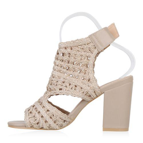 Damen Sandaletten Schaftsandaletten - Beige