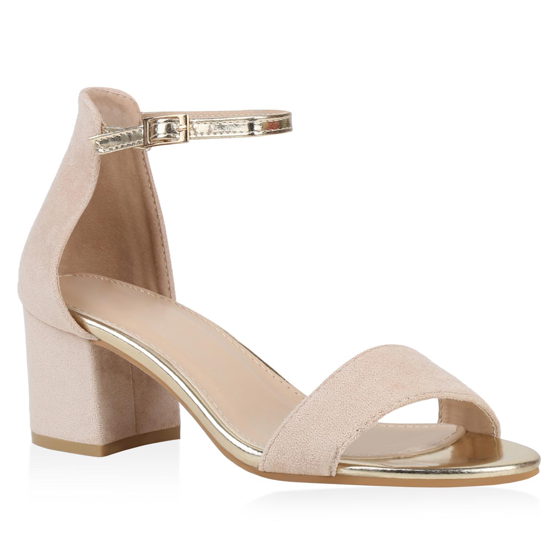 Sandalen - Damen Sandaletten Riemchensandaletten Nude Gold › stiefelparadies.de  - Onlineshop Stiefelparadies