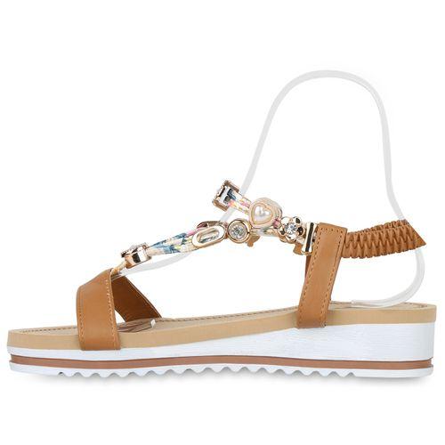 Billig Damen Schuhe Damen Sandaletten in Hellbraun 833831151