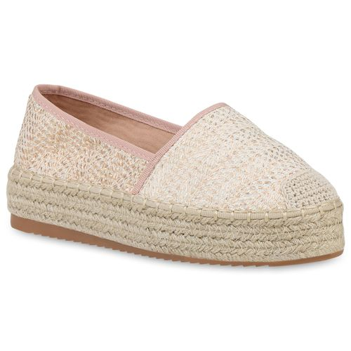 Damen Slippers Espadrilles - Rose Gold Nude Altrosa