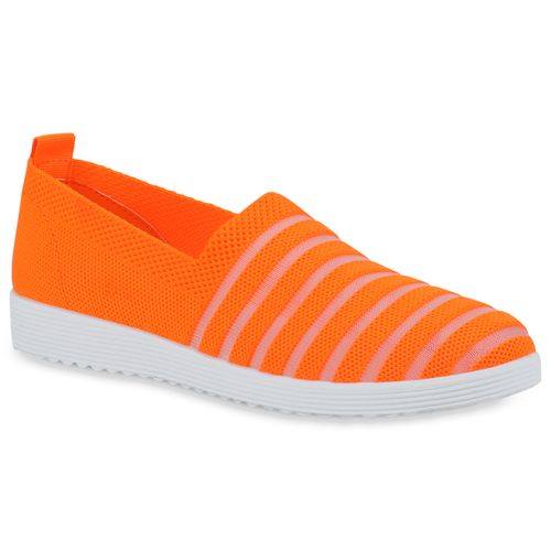 Damen Slippers Slip Ons - Neon Orange