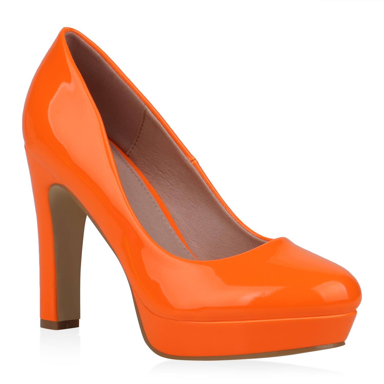Damen Plateau Pumps - Neon Orange