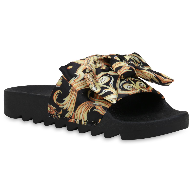 Damen Sandalen Pantoletten - Schwarz Gelb Gold
