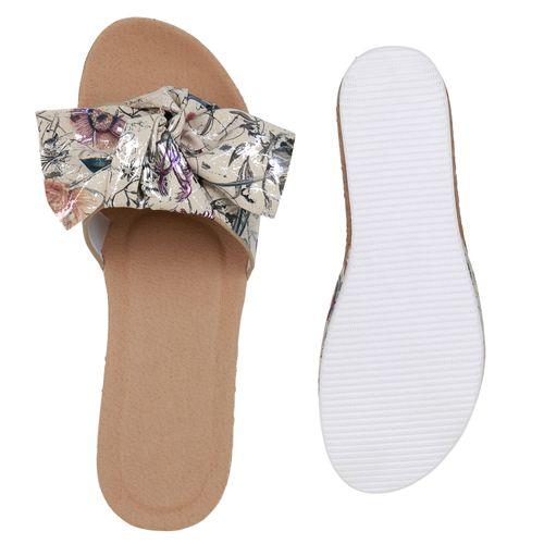 Billig Damen Schuhe Damen Sandaletten in Beige Silber Dunkelgrün Muster 8342258063