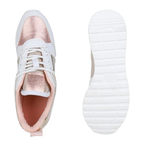 Damen Sneaker Wedges - Weiß Rose Gold Gold