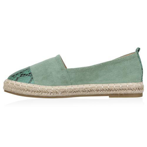 Billig Damen Schuhe Damen Slippers in Hellgrün Snake 8343236328