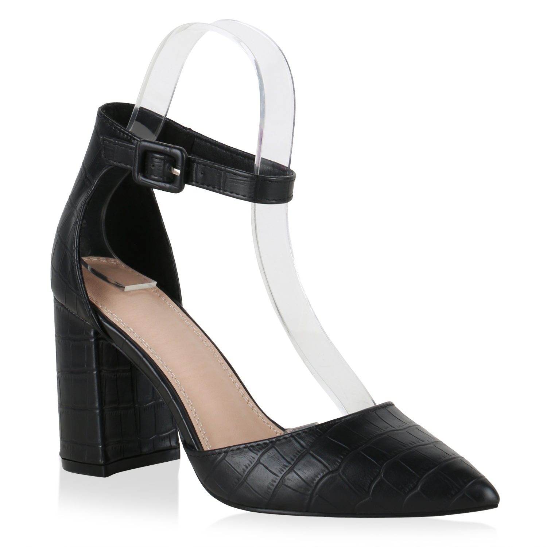 Damen Spitze Pumps - Schwarz Kroko