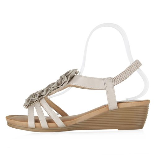 Billig Damen Schuhe Damen Sandaletten in Beige 834387147