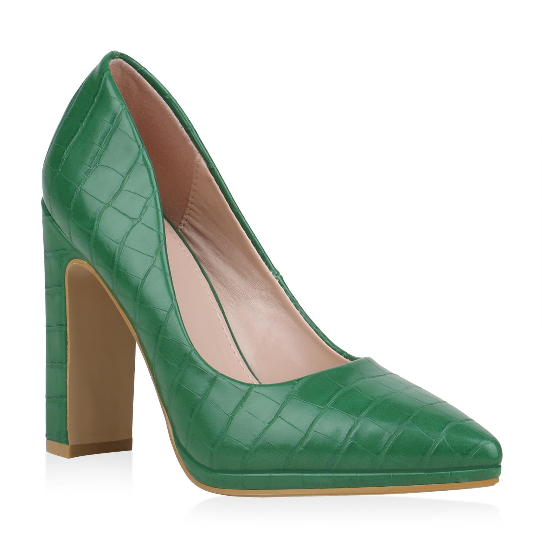 Damen Pumps High Heels Kroko-Optik Blockabsatz Party Schuhe 899866 Modatipp