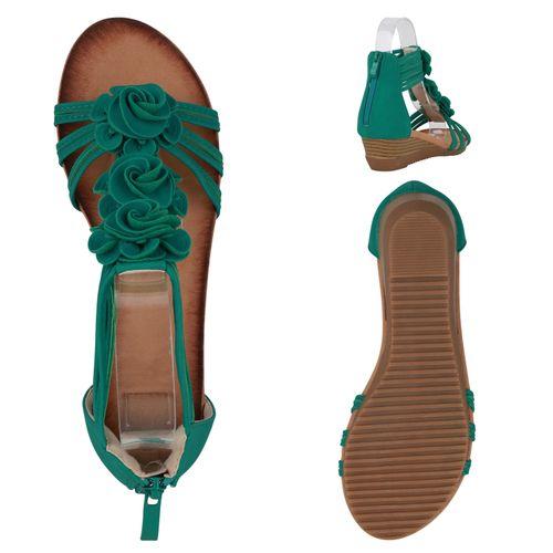 Damen Sandaletten Keilsandaletten - Grün