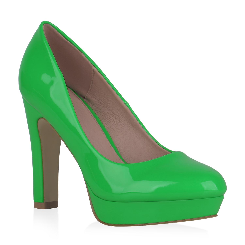 Damen Plateau Pumps - Neon Grün