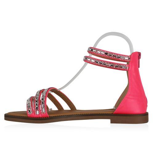 Damen Sandalen Riemchensandalen - Neon Pink