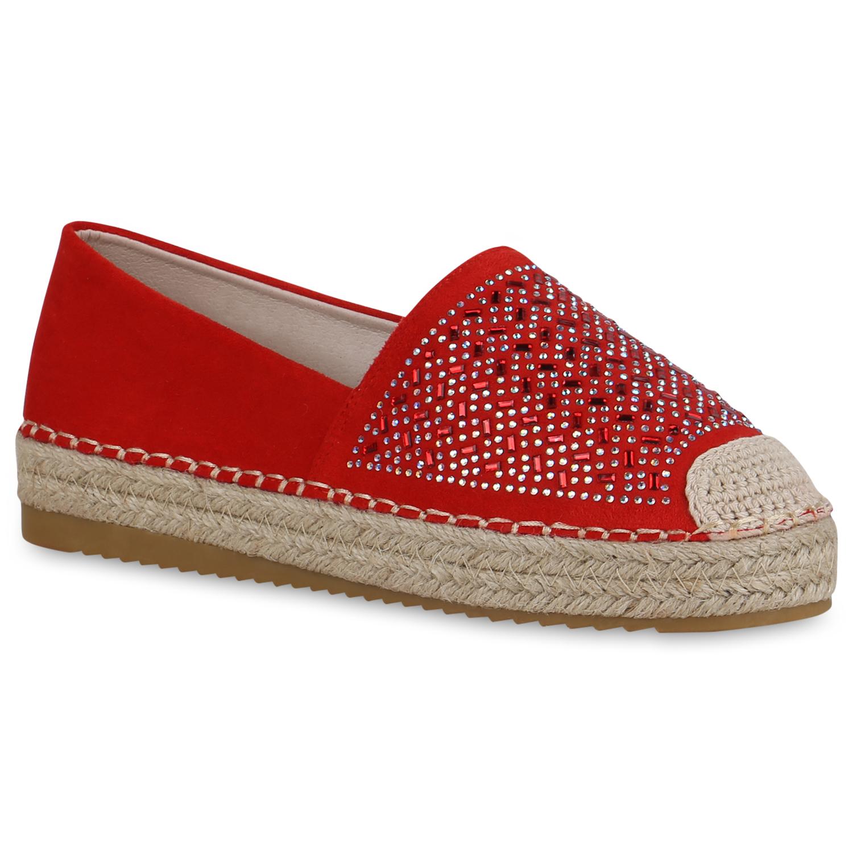 Damen Slippers Espadrilles - Rot