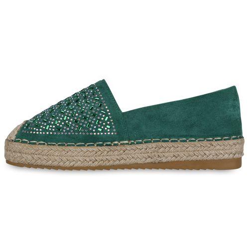 Damen Slippers Espadrilles - Grün