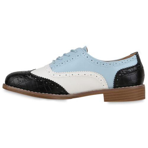 Damen Halbschuhe Brogues - Schwarz Hellblau Weiß Kroko