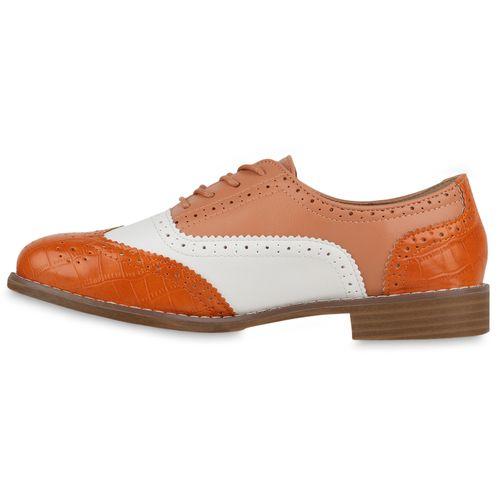 Damen Halbschuhe Brogues - Orange Lachs Weiß Kroko