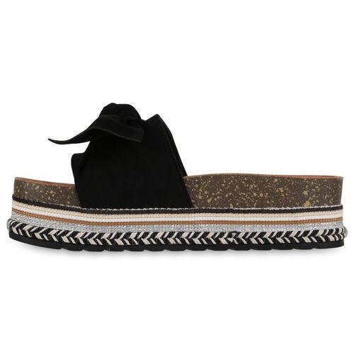 Damen Sandaletten Pantoletten - Schwarz
