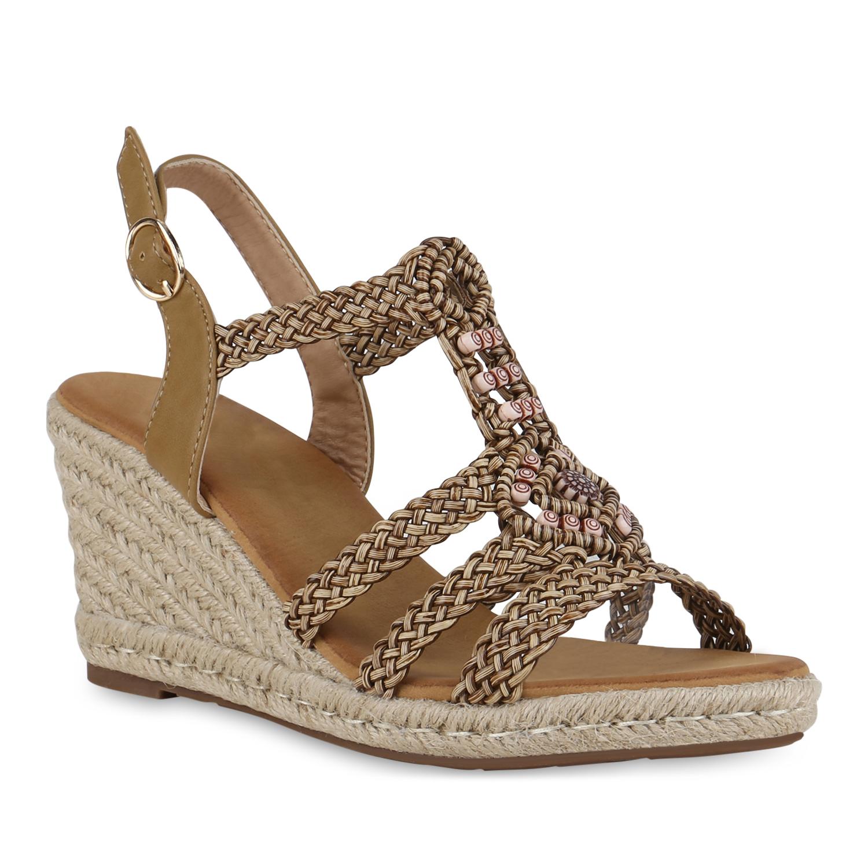 Damen Sandaletten Keilsandaletten - Tan