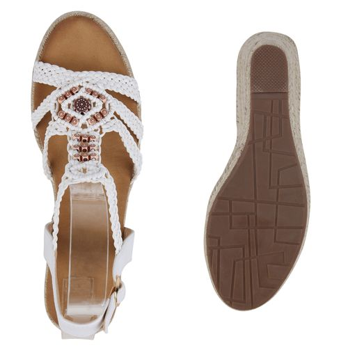 Damen Sandaletten Keilsandaletten - Weiß