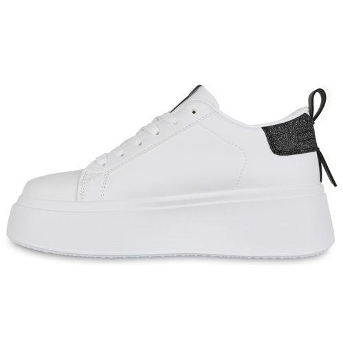 Damen Plateau Sneaker - Weiß Schwarz 96421549