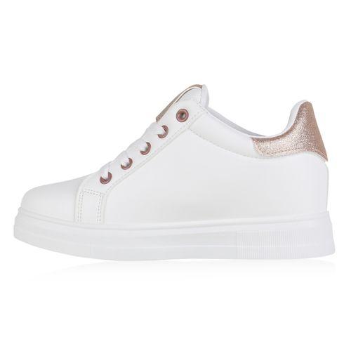 Damen Sneaker Wedges - Weiß Rose Gold
