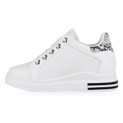 Damen Sneaker Wedges - Weiß Schwarz Grau Snake 96421549
