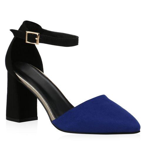 Damen Spitze Pumps - Schwarz Blau