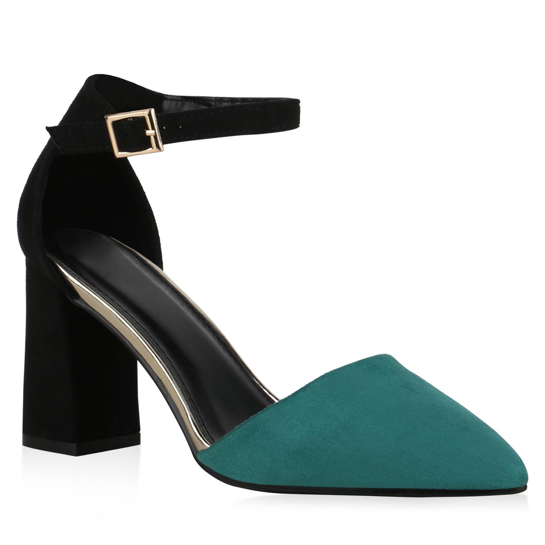 Damen Spitze Pumps - Schwarz Grün