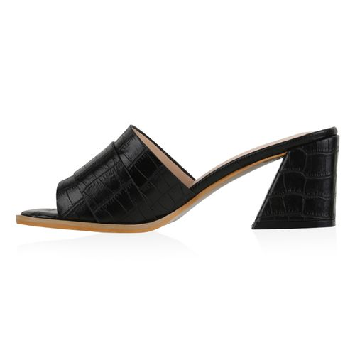 Damen Sandaletten Pantoletten - Schwarz Kroko